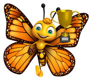 Butterfly cartoon character with winning cup Stock Photos