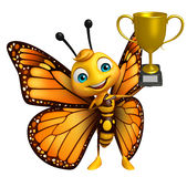 Butterfly cartoon character with winning cup Royalty Free Stock Images