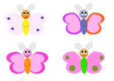 Butterfly cartoon characters Stock Photos
