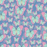 Butterfly cartoon drawing seamless pattern, vector background. Abstraction drawn insect with pastel pink turquoise wings on blue b Royalty Free Illustration
