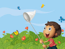 A butterfly catcher in the garden Stock Photo