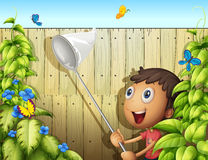 A butterfly catcher inside a yard with fence Royalty Free Stock Image