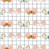 Butterfly checkered pastel colored baby seamless vector pattern. Royalty Free Illustration