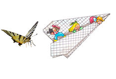 Butterfly and children. Beautiful butterfly and children on airplane Royalty Free Stock Photos
