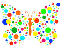 Butterfly circles. Butterfly, wings made of colored circles Royalty Free Stock Image
