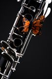 Butterfly on Clarinet Black Bk. A butterfly mounted on a clarinet isolated against a low key black background in the vertical format Stock Photo