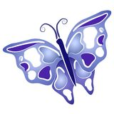 Butterfly Clip Art Blue Wings. An abstract butterfly in blue and white with white outlines on a white isolated background Stock Image