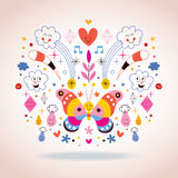 Butterfly, clouds, flowers, diamonds, raindrops cartoon nature vector illustration Stock Image