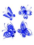 Butterfly, collection. Hand drawn, , illustration in Ukrainian folk style Royalty Free Stock Images