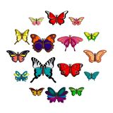 Butterfly collection icons set, cartoon style. Butterfly collection icons set. Cartoon illustration of 16 butterfly collection vector icons for web stock illustration