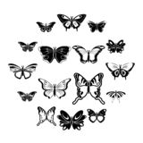 Butterfly collection icons set, simple style. Butterfly collection icons set. Simple illustration of 16 butterfly collection icons for web vector illustration