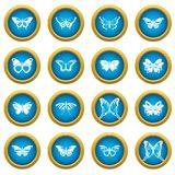 Butterfly collection icons set, simple style. Butterfly collection icons set. Simple illustration of 16 butterfly collection vector icons for web vector illustration