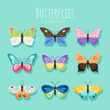 Butterfly collection illustration. Spring butterflies isolated on white background with colored wings. Vector illustration royalty free illustration