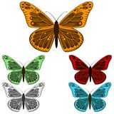 Butterfly collection isolated on white background Royalty Free Stock Image