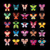 Butterfly collection. Butterfly - large set of isolated vector icons on black background. Can be used as logo (logotypes Stock Images