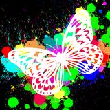 Butterfly from color splashes Stock Images