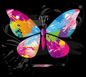 Butterfly from color splashes and line brushes Royalty Free Stock Images