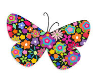 Butterfly with colorful flowers vector background Royalty Free Stock Images