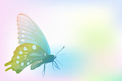 Butterfly on colorful gradient tone background. Vector illustration Stock Photos