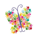 Butterfly with colorful handprints vector Stock Photography