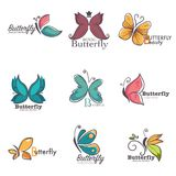 Butterfly colorful ornate vector icons stock illustration