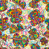 Butterfly colorful seamless pattern. Illustration drawing colorful butterfly seamless pattern graphic background element texture fabric bright Royalty Free Stock Photo