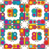 Butterfly colorful symmetry place seamless pattern. This illustrations is design butterfly square symmetry on white color background vector illustration