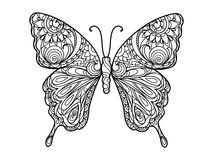 Butterfly coloring book for adults vector. Illustration. Anti-stress coloring for adult. Zentangle style. Black and white lines. Lace pattern Stock Photo