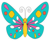 Butterfly coloring multi-colored character. Butterfly coloring isolated multi-colored character Stock Photos