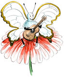 Butterfly with colour playing the guitar Royalty Free Stock Photography