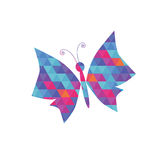 Butterfly with coloured triangle pattern Royalty Free Stock Photo