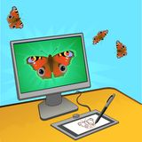 Butterfly computer design Stock Photos