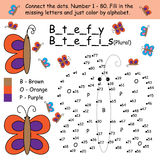 Butterfly connect dot coloring. Illustration drawing butterfly connect dot coloring white color background graphic element Royalty Free Stock Photo