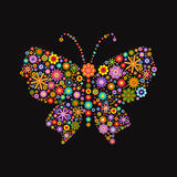 Butterfly consisting of different colors flowers on black Royalty Free Stock Image
