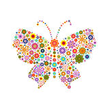 Butterfly consisting of different colors flowers on white Stock Photos