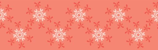 Butterfly Coral Star Flower Blooms Seamless Border Vector. Lacy Floral Repeating Pattern Banner. Hand Drawn Textured Fashion Print, Trendy Wallpaper, Pretty royalty free illustration