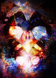 Butterfly in cosmic space. Color cosmic abstract background. Stock Photo