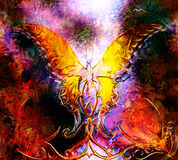 Butterfly in cosmic space. in fire flame. graphic design and glass effect. Stock Photography