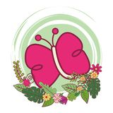 Butterfly cute cartoon. On flowers and leaves vector illustration graphic design vector illustration