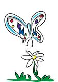 Butterfly and daisy. 