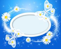 Butterfly with daisy and frame Royalty Free Stock Image