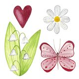 Butterfly and daisy and may lily and pink heart, hand painted watercolor illustration