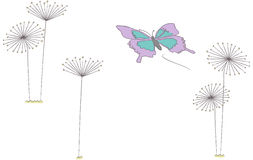 Butterfly and Dandelions vector illustration