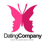 Butterfly Dating Logo. An illustration of a dating company logo representing butterfly with girl and boy faces on the wings Stock Images