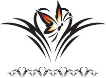 Butterfly Design. Graphic illustration of a silhouette of a butterfly against a heart background royalty free illustration