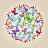 Butterfly design ornament decal Stock Image