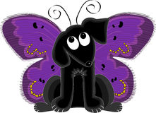 Butterfly Dog. Black dog looking up at antenna while wearing butterfly wings stock illustration