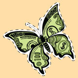 Butterfly dollar bill label sticker. Pop art retro vector illustration. Money and Finance Royalty Free Stock Images