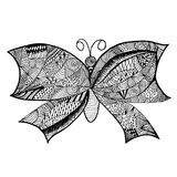 Butterfly doodle hand drawn sketch on white background. Object isolated Royalty Free Stock Image