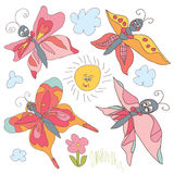 Butterfly Doodle set.Children's hand drawing Royalty Free Stock Images